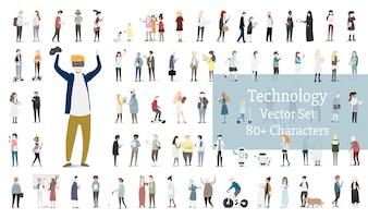 Ensemble d'illustration de vecteur avatar humain