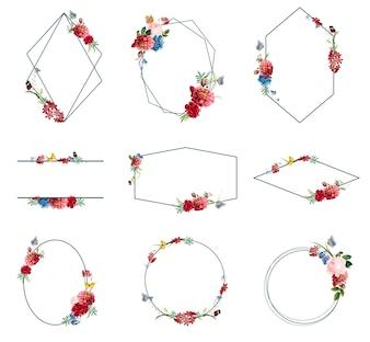 Ensemble d'illustrations de cadre floral