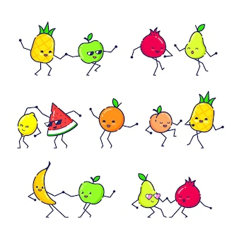 Ensemble de danse de fruits drôles.