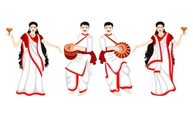 Ensemble de danse indienne de dhunchi de couple sur le festival de durga puja