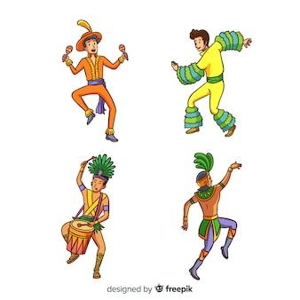 Ensemble danseur de carnaval brésilien dessiné à la main