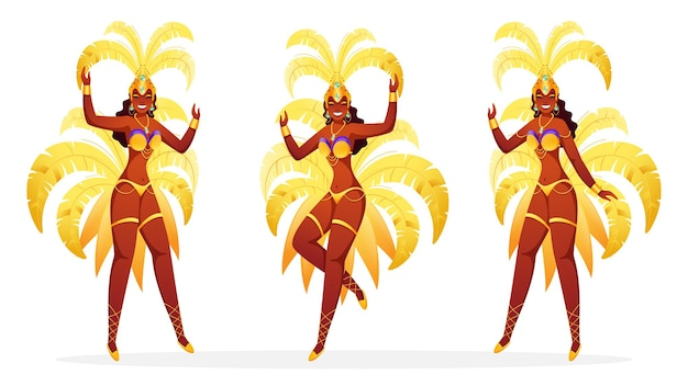 Ensemble de danseuses de samba brésiliennes