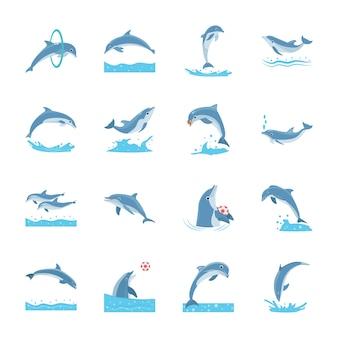 Ensemble de dauphins de dessin animé