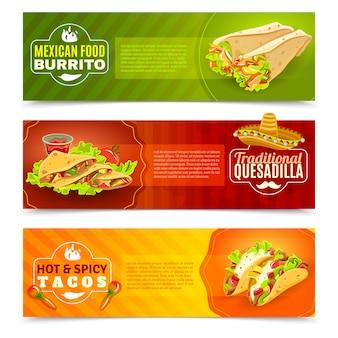 Ensemble de bannière de nourriture mexicaine