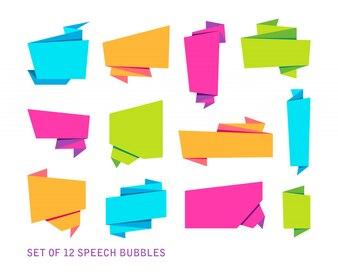 Ensemble de bannières abstraites, ruban de papier plié ou bulles de voix originales