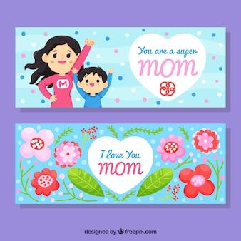 Ensemble de bannières de fête des mères avec supermon
