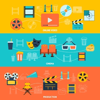 Ensemble de bannières horizontales cinéma