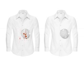 Ensemble de deux chemises blanches, propres et sales, avec une loupe montrant la fibre de tissu
