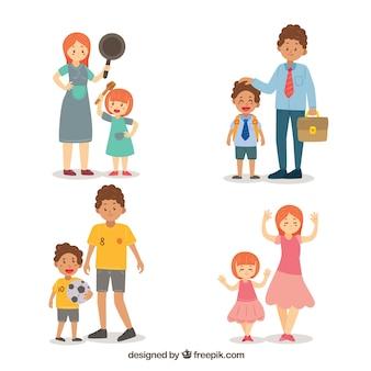 Ensemble de familles dessinées à la main, faisant des activités différentes