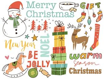 Ensemble de fond mignon doodle de Noël