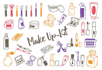 Ensemble de kit de maquillage doodle