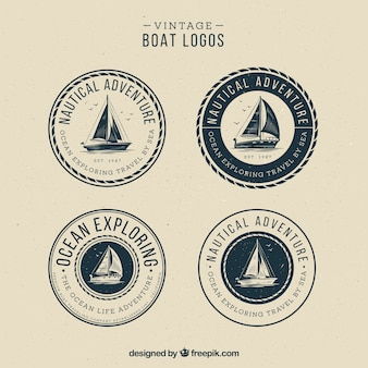 Ensemble de logos de bateau vintage