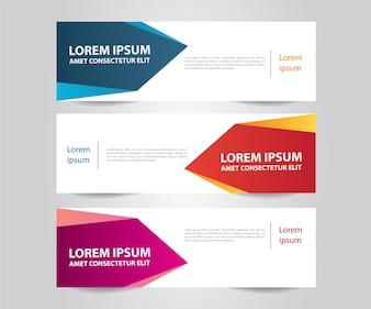 Ensemble de modèle de bannière colorée moderne. Bannière publicitaire horizontale