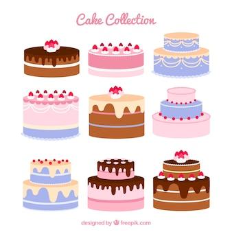 Ensemble de neuf gâteaux d'anniversaire