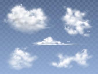 Ensemble de nuages réalistes, illustration de différents types de nuages cirrus et cumulus