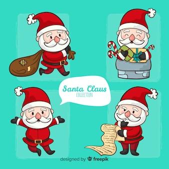 Ensemble de père Noël dessiné à la main