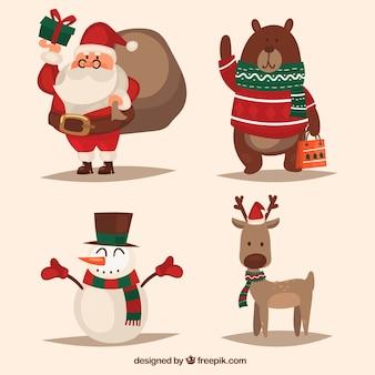 Ensemble de personnages de Noël dans un style rétro