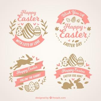 Ensemble de quatre étiquettes de Pâques