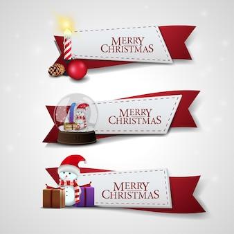 Ensemble de rubans de Noël avec des icônes de Noël de dessin animé