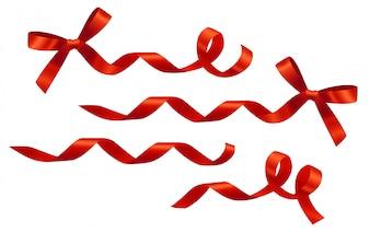 Ensemble de rubans et boucles rouges décoratifs. Pour les bannières, affiches, dépliants et brochures