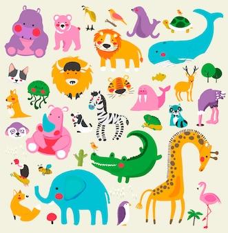 Ensemble de style dessin illustration de la faune