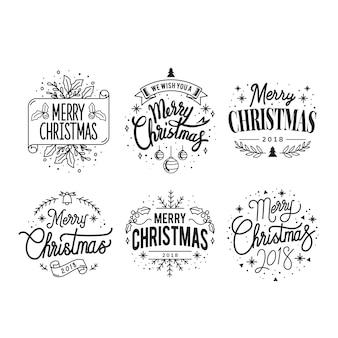 Ensemble de vecteurs de badge de souhaits de Noël