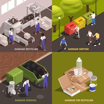 Ensemble de déchets pour le recyclage des compositions
