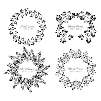 Ensemble décoratif cadre floral décoratif ornemental