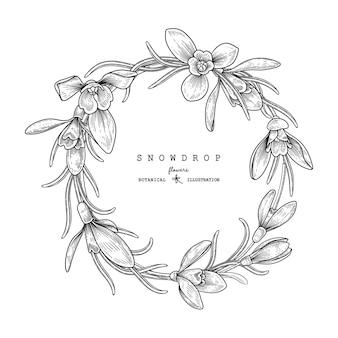 Ensemble décoratif floral de croquis.