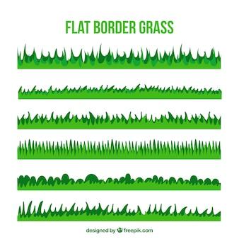 Ensemble décoratif d'herbe frontières dans les tons verts