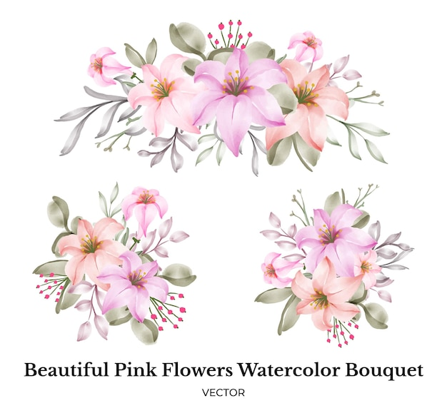 Ensemble de décoration de bouquet aquarelle de belles fleurs roses