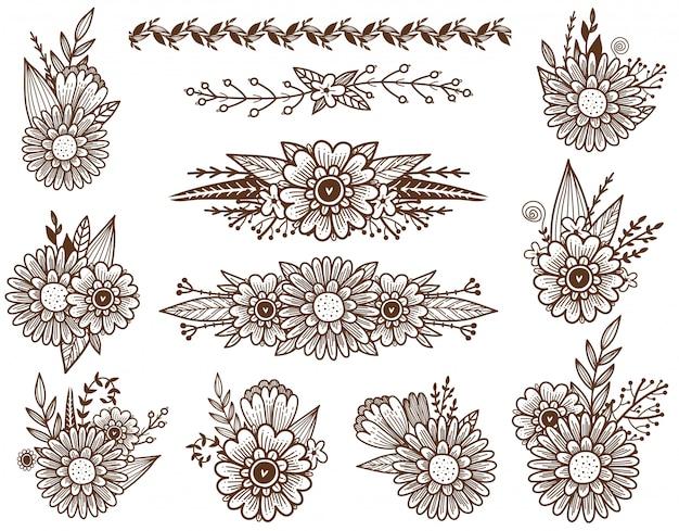 Ensemble de décoration florale des croquis de fleurs, de brunchs et de feuilles. bordure de fleurs des champs