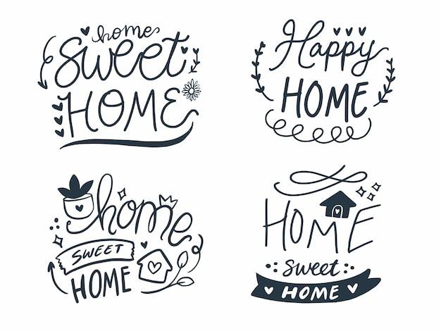 Ensemble de décoration d'impression de lettrage à la main de home sweet home.