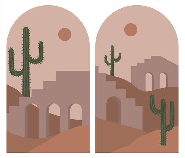 Ensemble de décoration murale boho du milieu du siècle avec des paysages de montagne en arches. illustration dessinée à la main