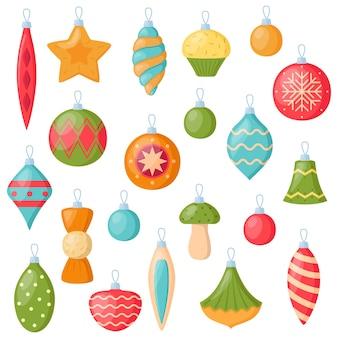 Ensemble de décorations d'arbre de noël. collection d'éléments décoratifs de noël, illustration vectorielle