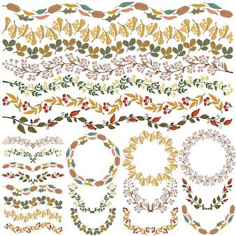 Ensemble de décorations florales multicolores vectorielles tous les pinceaux inclus