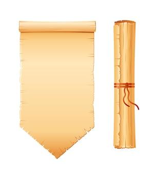 Ensemble de défilement de papyrus, papier parchemin avec texture ancienne