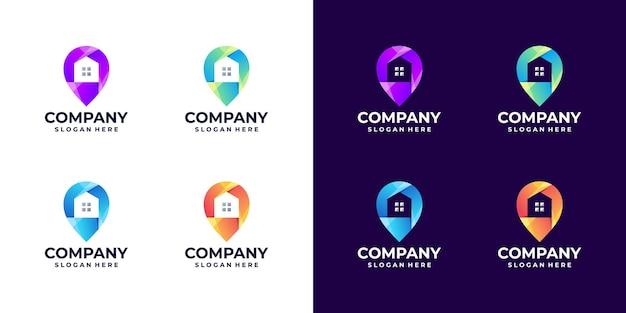 Ensemble de dégradé de logo de localisation de la maison
