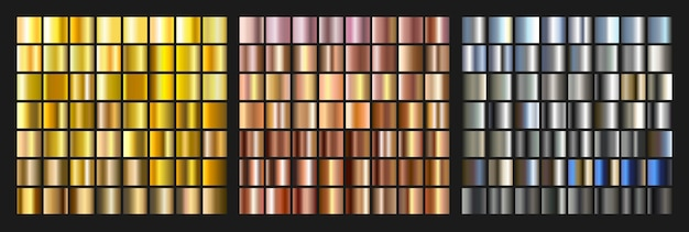 Ensemble de dégradé d'or, d'argent et de métal. élément de texture lumineuse pour le web. illustration