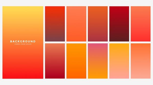 Ensemble de dégradés de couleurs automne orange vif