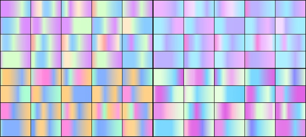 Ensemble de dégradés holographiques néons colorés.