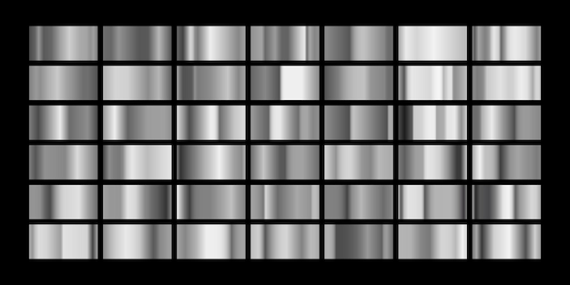 Ensemble de dégradés de métal argenté isolé sur noir