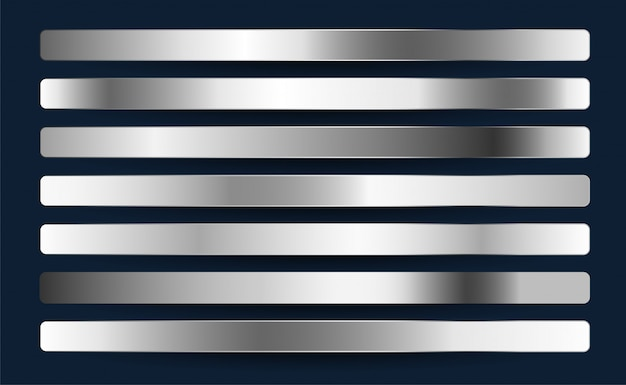 Ensemble de dégradés métalliques argent chromé platine aluminium