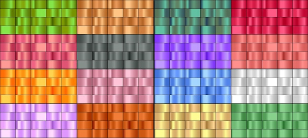 Ensemble de dégradés métalliques colorés.