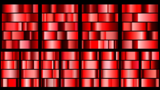 Ensemble de dégradés métalliques en couleurs rouges