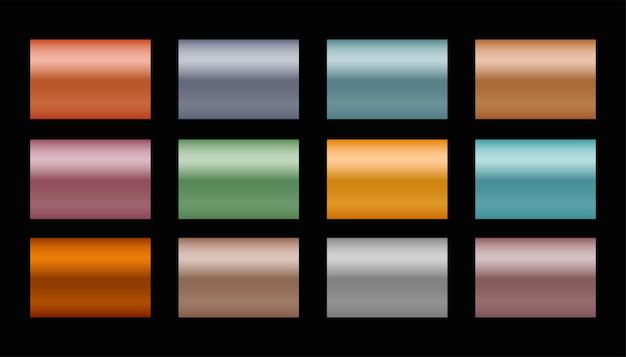 Ensemble de dégradés métalliques dans différentes nuances et couleurs