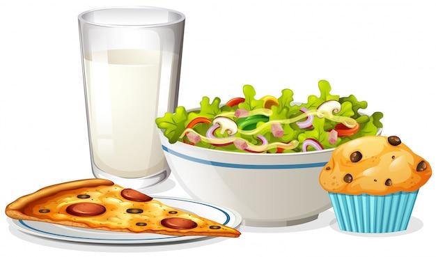 Un ensemble de déjeuner sur fond blanc