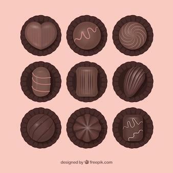 Ensemble de délicieux bonbons au chocolat