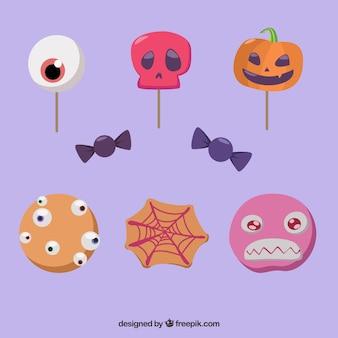 Ensemble de délicieux bonbons d'halloween