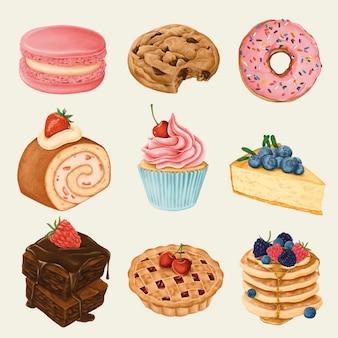 Ensemble de délicieux desserts peints à la main